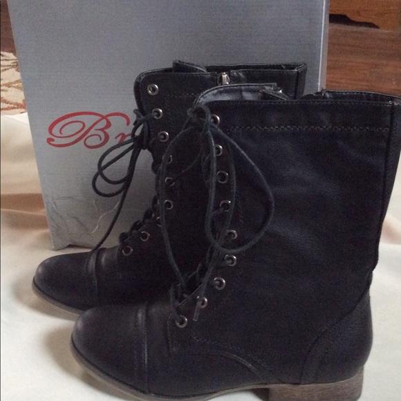 Breckelles Shoes - Breckelles  Georgia 72 Black Combat Boots NEW